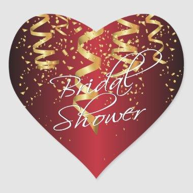 Metallic Dark Red Gold Confetti  Heart Sticker