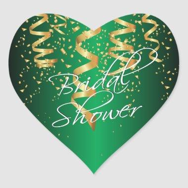 Metallic Green Gold Confetti  Heart Sticker