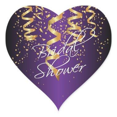 Metallic Purple Gold Confetti Bridal Shower Heart Sticker
