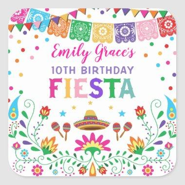 Mexican Fiesta Birthday Party Favors Baby Shower Square Sticker