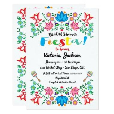 Mexican Fiesta Bridal Shower Flower Folkart Invitations
