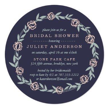 Midnight Blue, Blush Pink and Sage Bridal Shower Invitations