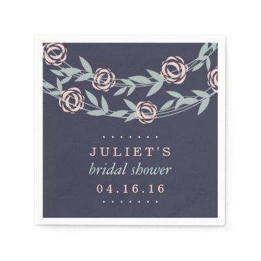 Midnight Blue, Blush Pink and Sage  Paper Napkin
