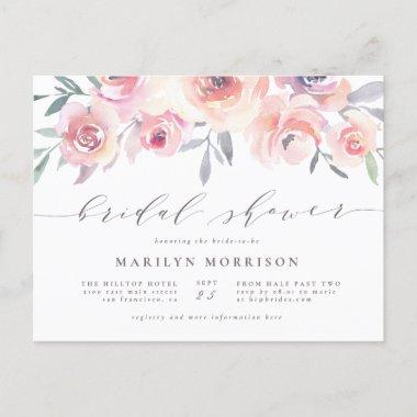 Midsummer Floral Elegant Watercolor Bridal Shower Invitation PostInvitations