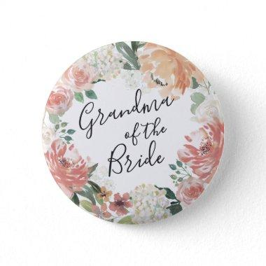 Midsummer Floral Grandma of the Bride Pinback Button