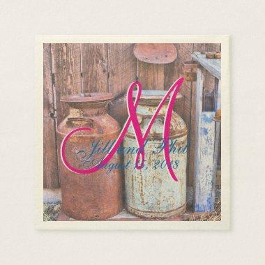 Milk Cans Vintage Metal Rustic Antique Monogram Paper Napkin