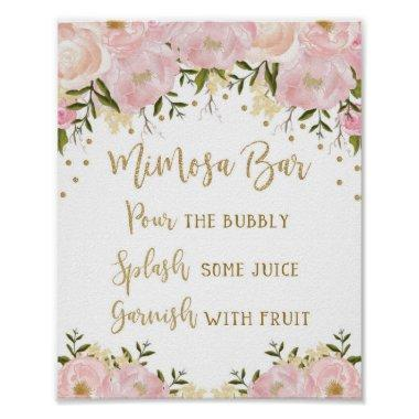 Mimosa Bar Sign Blush Pink Gold Floral Wedding