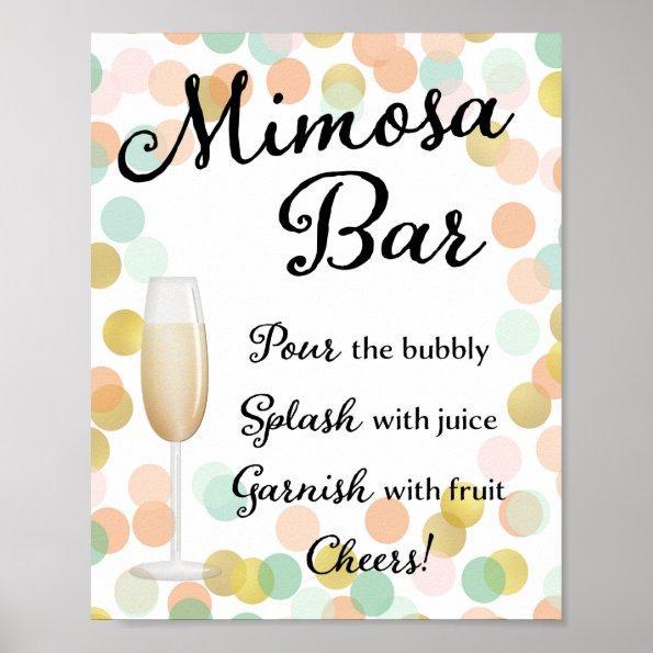 875 mimosa bar wedding sign gold pink mint poster