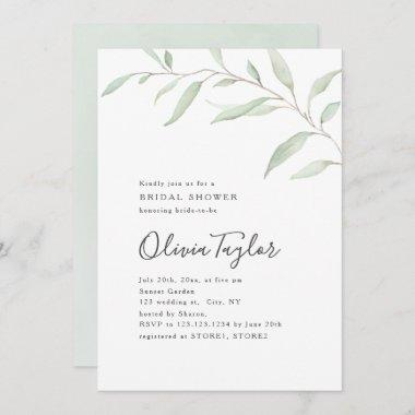 Minimal greenery calligraphy rustic bridal shower Invitations
