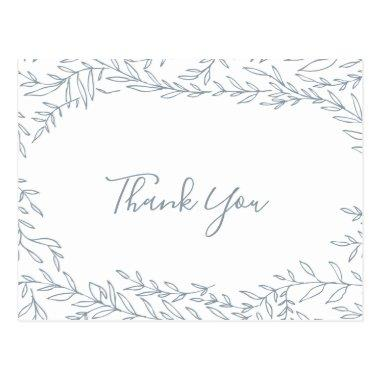 Minimal Leaf | Dusty Blue Thank You PostInvitations