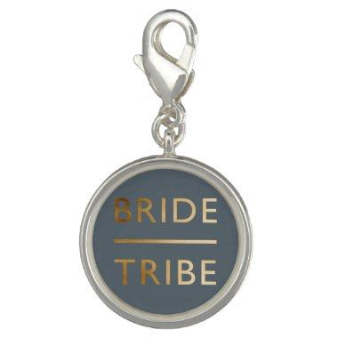 minimalist elegant bride tribe faux gold text charm