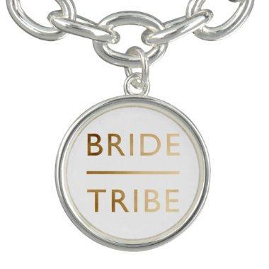 minimalist elegant bride tribe faux gold text charm bracelet