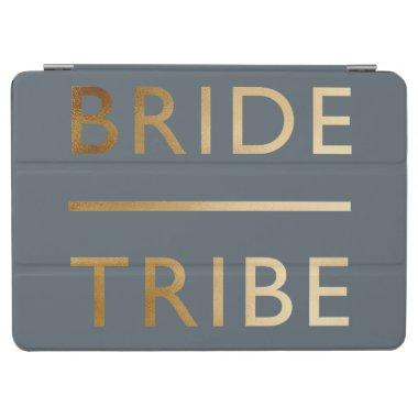 minimalist elegant bride tribe faux gold text iPad air cover