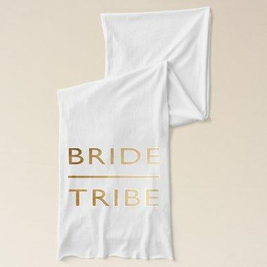 minimalist elegant bride tribe faux gold text scarf