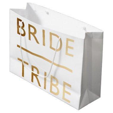 minimalist elegant bride tribe gold foil text large gift bag