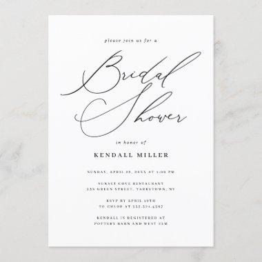 Minimalist Modern Calligraphy Bridal Shower Invitations