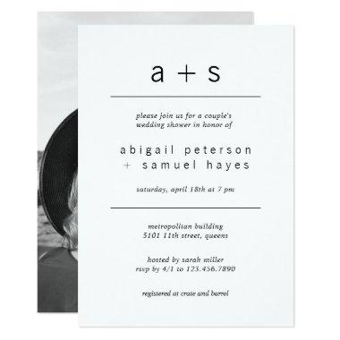 Minimalist Monogram Photo Couples Wedding Shower Invitations