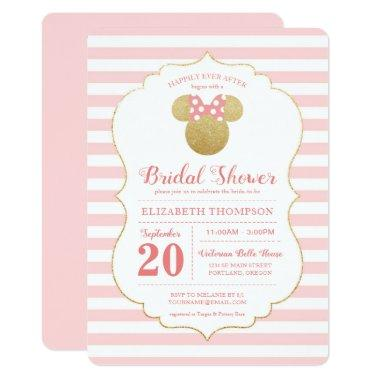 Minnie Mouse | Gold & Pink Striped Bridal Shower Invitations