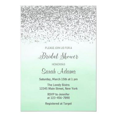 Mint and Silver Bridal Shower Invitations