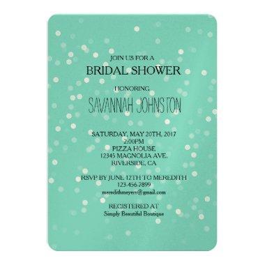 Mint and White Bokeh Confetti bridal shower Invitations