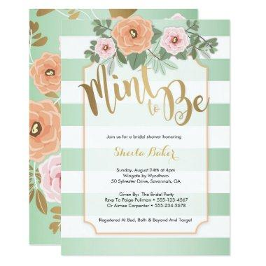 Mint & Gold Wedding Shower Invitations - Mint to Be