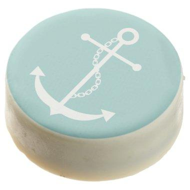 Mint Green Anchor Chocolate Dipped Oreo