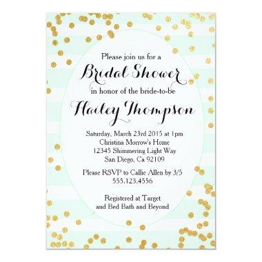 Mint Green and Gold Bridal Shower Invitations