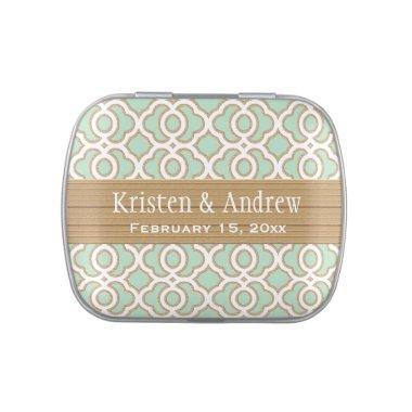 Mint Green and Gold Moroccan Wedding Favor Jelly Belly Candy Tin