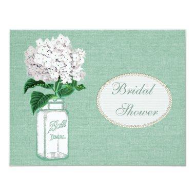 Mint Green Burlap, Jar & Hydrangea