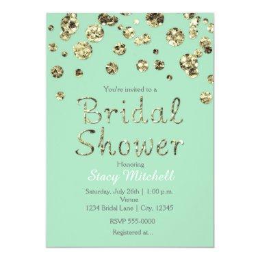 Mint Green Gold Glitter Bridal Shower Invitations
