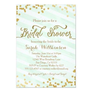 Mint Green & Gold Wedding Bridal Shower Invitations