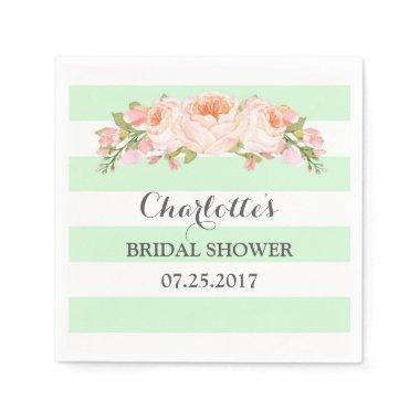 Mint Green Stripes Floral Bridal Shower Napkin