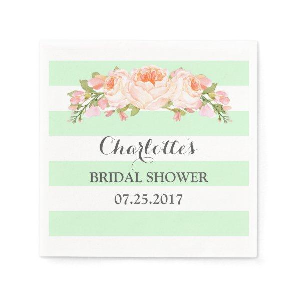 Mint Green Stripes Floral Bridal Shower Napkin
