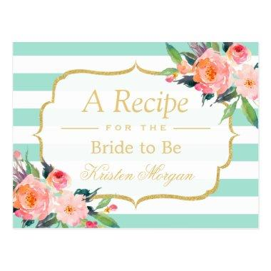 Mint Green Stripes Floral Bridal Shower Recipe PostInvitations