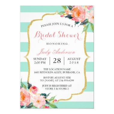 Mint Green Stripes | Floral Chic Bridal Shower Invitations