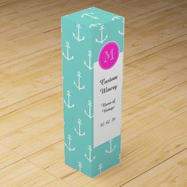 Mint Green White Anchors, Hot Pink Monogram Wine Box