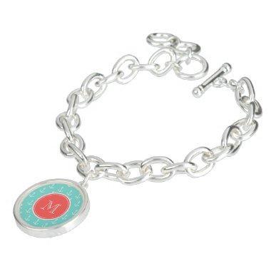 Mint Green White Anchors Pattern, Coral Monogram Bracelets