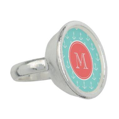 Mint Green White Anchors Pattern, Coral Monogram Ring