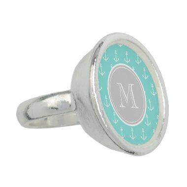 Mint Green White Anchors Pattern, Gray Monogram Ring