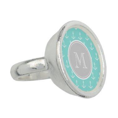 Mint Green White Anchors Pattern, Gray Monogram Rings