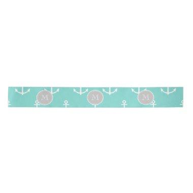 Mint Green White Anchors Pattern, Gray Monogram Satin Ribbon