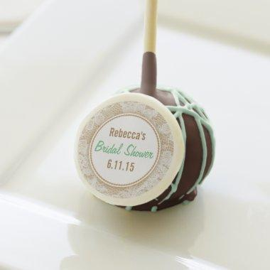 Mint Green, White Lace Personalized  Cake Pops