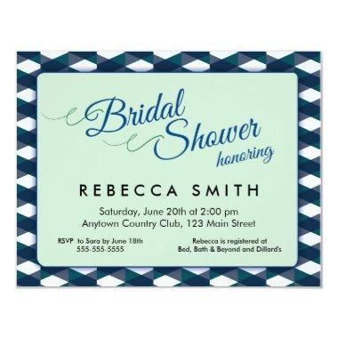 Mint Green with Navy Blue Border Bridal Shower Invitations