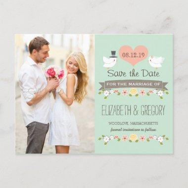 MINT LOVE BIRDS DOVE SAVE THE DATE ANNOUNCEMENT POSTInvitations