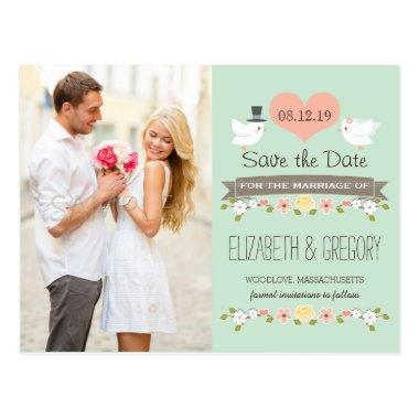MINT LOVE BIRDS DOVE SAVE THE DATE POST