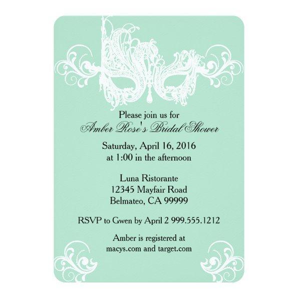 236 mint masquerade bridal shower invitations