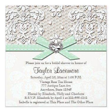 Mint Pearl Lace Diamond Bridal Shower Invitations