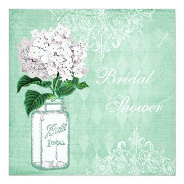 Mint Shabby Chic Jar & Hydrangea