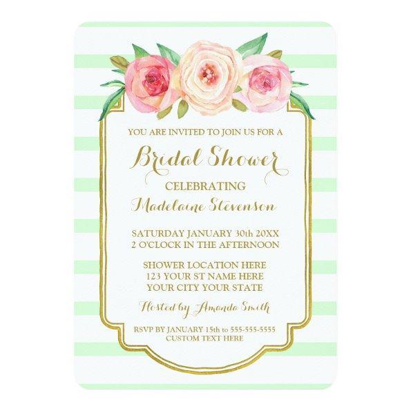 231 mint stripes gold pink floral bridal shower invitations