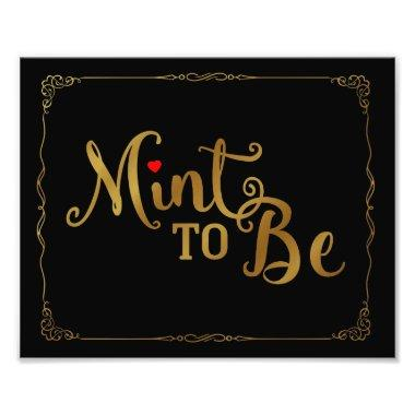 mint to be, wedding favor, wedding sign, gold photo print